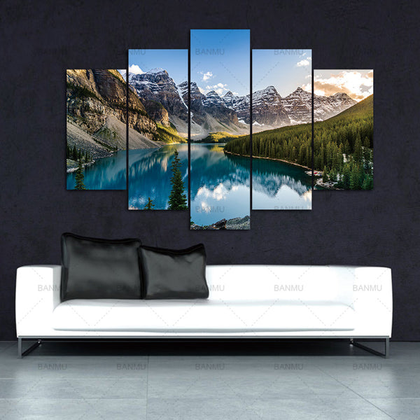 5 Pieces Modern Canvas Moraine Lake And Mountain Painting Wall Art The Picture For Home DecorationGiclee Artwork For Wall Decor