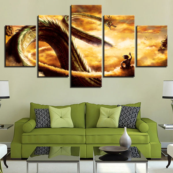 Canvas HD Prints Pictures Modern Wall Art Framework 5 Pieces Cartoon Dragon Ball Z Paintings Goku Ride Shenron Poster Home Decor
