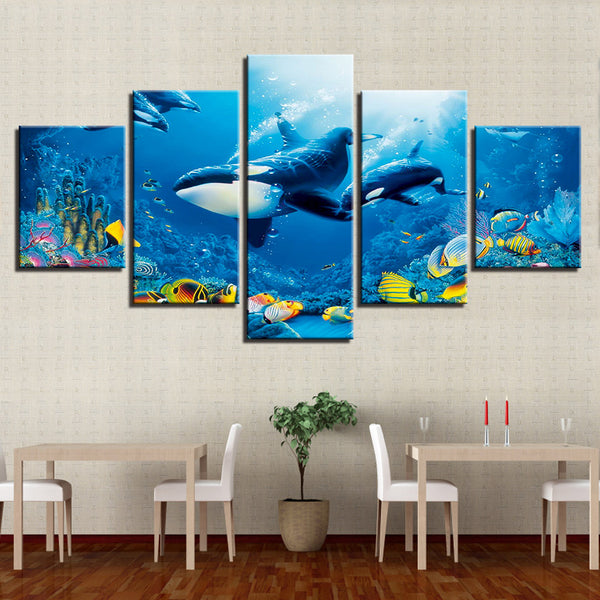 Canvas Poster HD Prints Room Wall Art Framework 5 Pieces Deep Blue Ocean Whale Goldfish Painting Home Decor Tiger Shark Pictures