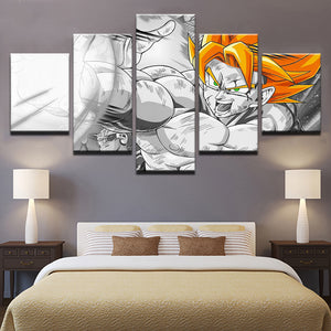 Modern Canvas HD Prints Paintings Home Decor 5 Pieces Dragon Ball Pictures Cartoon Anime Posters Living Room Wall Art Framework