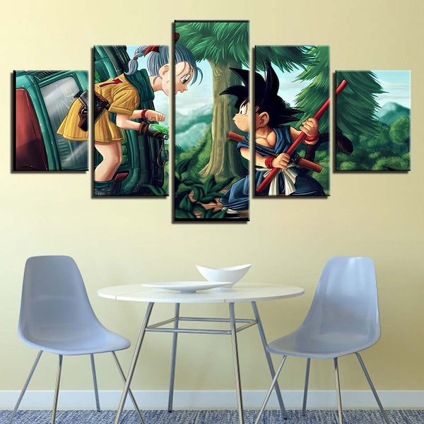 Canvas Pictures Home Decor Living Room Wall Art Framework 5 Pieces Dragon Ball Girl And Goku Paintings HD Prints Anime Posters
