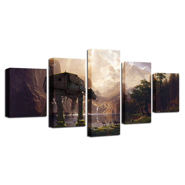Canvas Paintings Wall Art HD Prints 5 Pieces Star Wars Robot Dog AT-AT Pictures Movie Abstract Posters Home Decor Room Framework