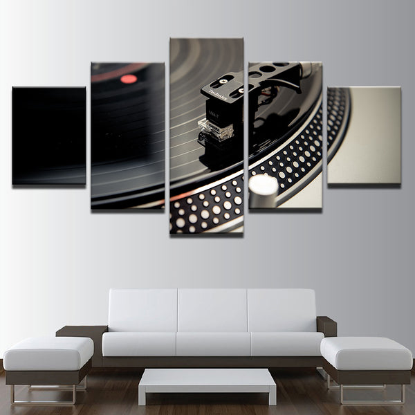 Canvas Paintings Home Decor HD Prints Dance Hall Bar Posters 5 Piece DJ Music Instrument Turntables Pictures Night Club Wall Art