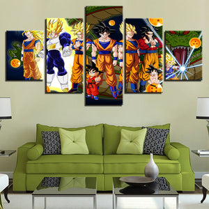 Canvas Poster Modular For Living Room Home Decor 5 Pieces Dragon Ball Z Anime Paintings Super Saiyan Pictures Wall Art Framework