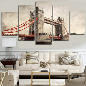 Modern Home Decor Canvas Framework Painting Modular Picture 5 Piece London River Thames Printing Artwork Poster For Bedroom