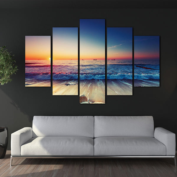 Unframed 5 Pieces Modern Wall Art Canvas  Modular Sunrise Panel Print canvas Painting Decoration Picture Home Decor