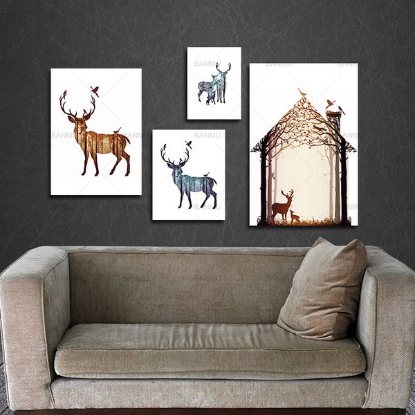 Silhouette of Deer Family with Pine Forest Canvas Art Print Painting Poster, Wall Picture for Home Decoration, Home Decor