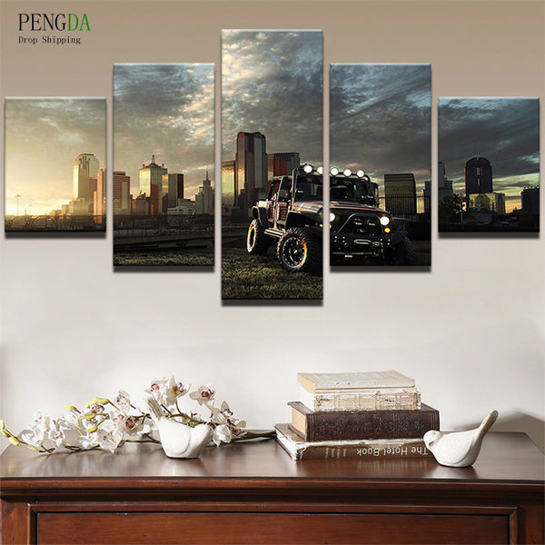 Canvas Painting Pictures Wall Art Frame Home Decor 5 Panel Dusk City Building Car Landscape For Living Room Modern Print PENGDA