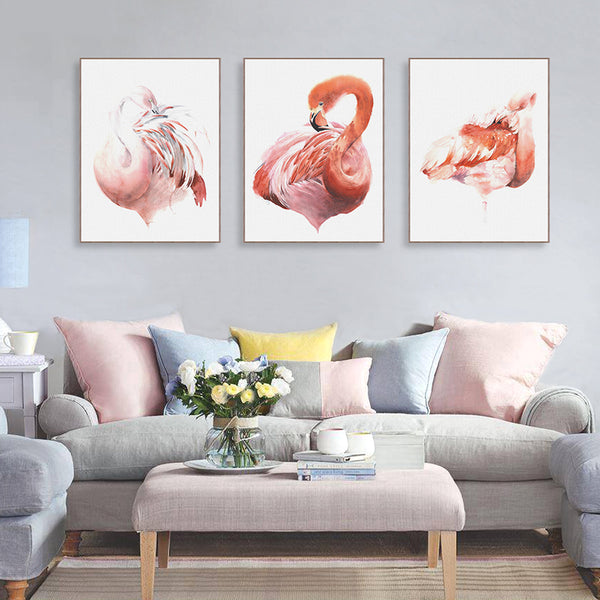 Triptych Nordic Watercolor Animal Flamingo Poster A4 Big Living Room Wall Art Picture Modern Home Decor Canvas Painting No Frame