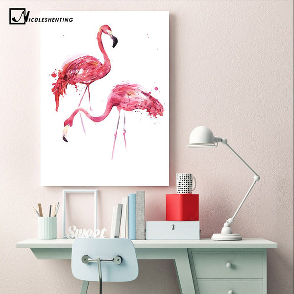 Watercolor Flamingo Poster Canvas Print Minimalist Wall Art Painting Decorative Picture for Living Room Decoration Home Decor