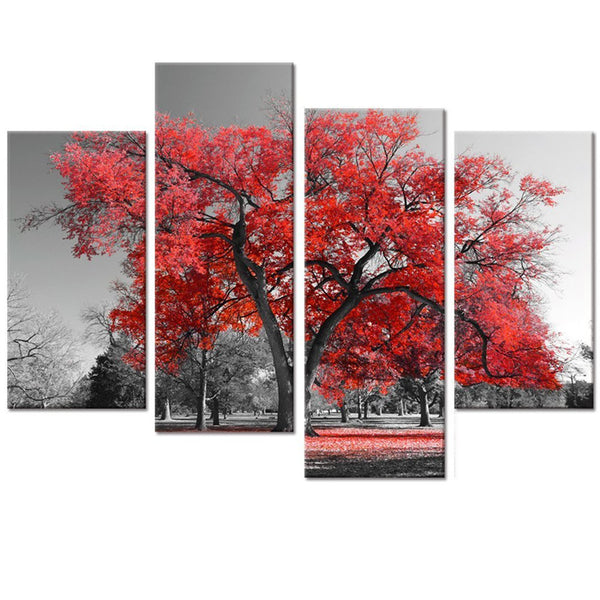 Canvas Painting print Wall Art decor  Maple Tree Forest Painting Prints for Wall Decor Black and White Artwork for Living Room
