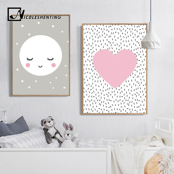 Pink Heart Moon Star Wall Art Canvas Poster Kawaii Cartoon Nordic Nursery Prints Painting Picture Children Bedroom Decoration