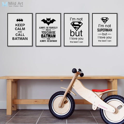 Black White Superhero Batman Typography Quotes Art Prints Poster Nursery Wall Picture Kids Room Decor Canvas Painting No Frame