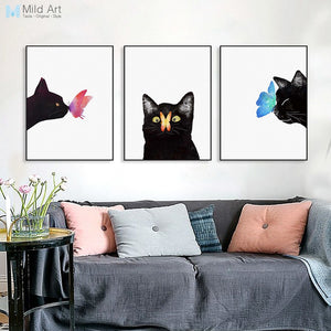 Watercolor Triptych Modern Animal Cat Butterfly Canvas A4 Art Print Poster Nordic Wall Picture Kids Room Decor Painting No Frame