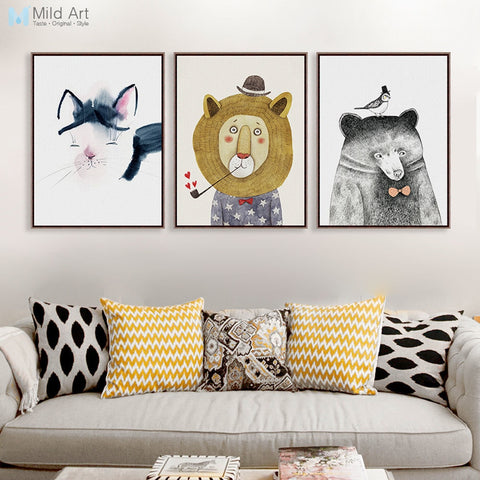 Modern Watercolor Cute Lion Bear Panda A4 Art Print Poster Wall Picture Nordic Kids Room Home Deco Canvas Painting No Frame Gift