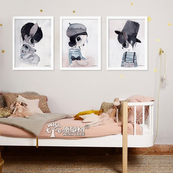 Nordic Girl Wall Art Canvas Painting Cartoon Rabbit Art Print Posters And Prints Wall Prints Nursery Cuadros Poster Unframed