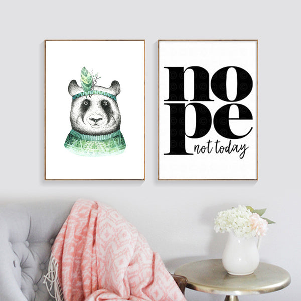Green Panda Boy Posters And Prints Wall Art Canvas Painting Canvas Pictures For Living Room Nordic Poster Art Prints Unframed