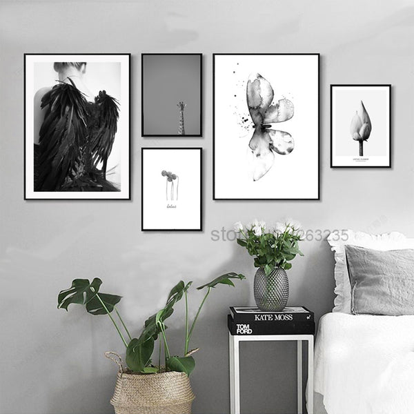 Wing Giraffe Nordic Poster Butterfly Flower Posters And Prints Wall Art Canvas Painting Wall Pictures For Living Room Unframed