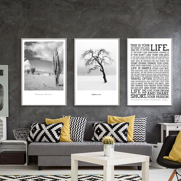 Desert Cactus Old Tree Posters And Prints  Life Nordic Poster Wall Art Canvas Painting Wall Pictures For Living Room Unframed