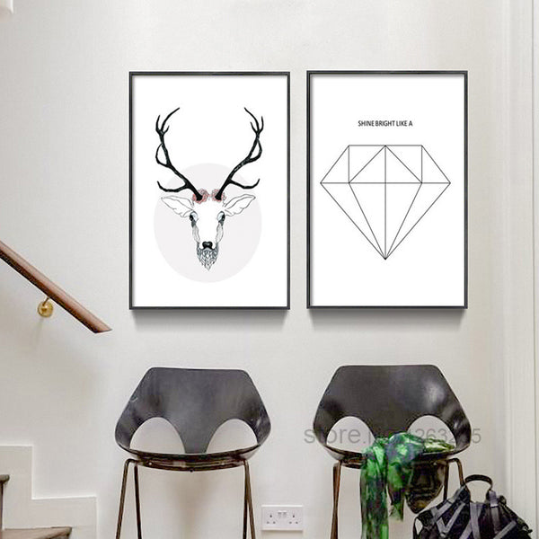Nordic Style Poster Posters And Prints Elk Poster Wall Pictures For Living Room Letter Leaf Art Print Canvas Painting Unframed
