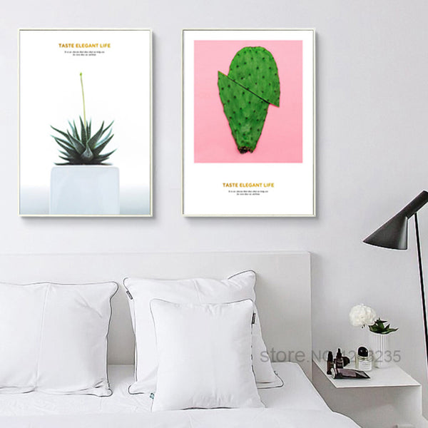 Pink Aloe Vera Cactus Posters And Prints Pot Plant Poster Wall Art Canvas Painting Canvas Pictures For Living Room Unframed