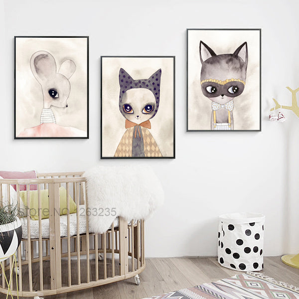 Cartoon Small Mouse Nursery Wall Art Canvas Painting Posters And Prints Wall Pictures For Living Room Nordic Poster Unframed