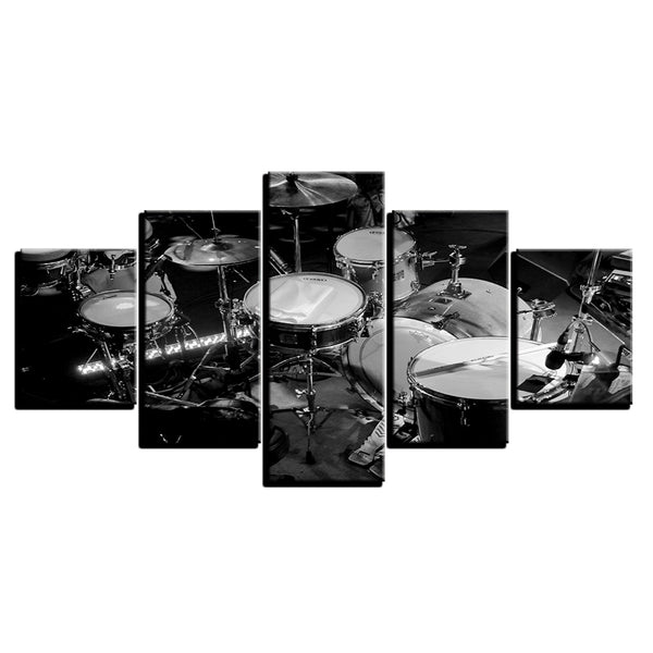 Canvas Wall Art Modular Pictures HD Prints 5 Pieces Music Instrument Paintings Black White Drums Posters Living Room Home Decor