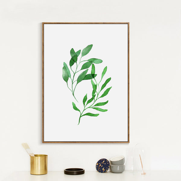 Nordic Art Spring Green Fresh Leaf Watercolor A4 Canvas Painting Art Print Poster Picture Wall Home Decor Bedroom Decoration