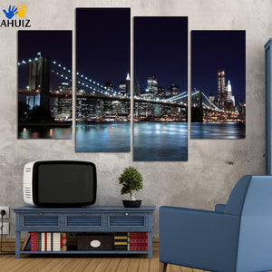 4 Piece Free Shipping Hot Sell Modern wall Painting New York Brooklyn bridge Home Decorative Art Picture Paint on Canvas Prints