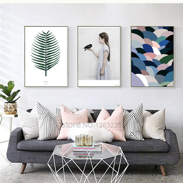 Nature Life Girl Bird Posters And Prints Abstract Wall Art Canvas Painting Art Print Nordic Poster Cuadros Posters Unframed