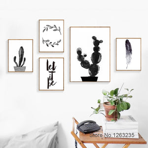 Posters And Prints Cuadros Decoracion Black Watercolor Cactus Wall Pictures Wall Art Canvas Painting Nordic Poster Unframed
