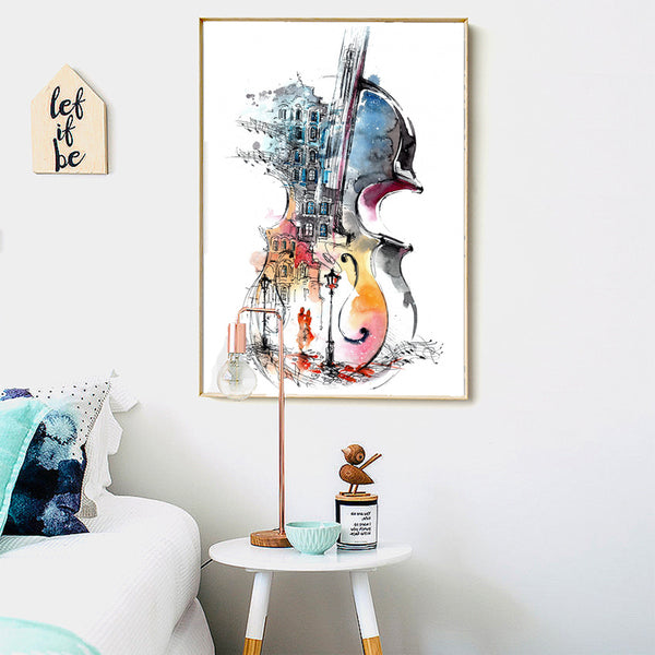 WANGART Nordic Poster Canvas Print Guitar Abstract  Still Life Wall Pictures For Living Room Surrealism Home Decor No Frame JY49