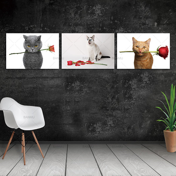 Cat Rose Flower Wall Art Canvas painting  Animal Decorative Pictures On  Wall Home Decor Canvas Painting Picture For Living