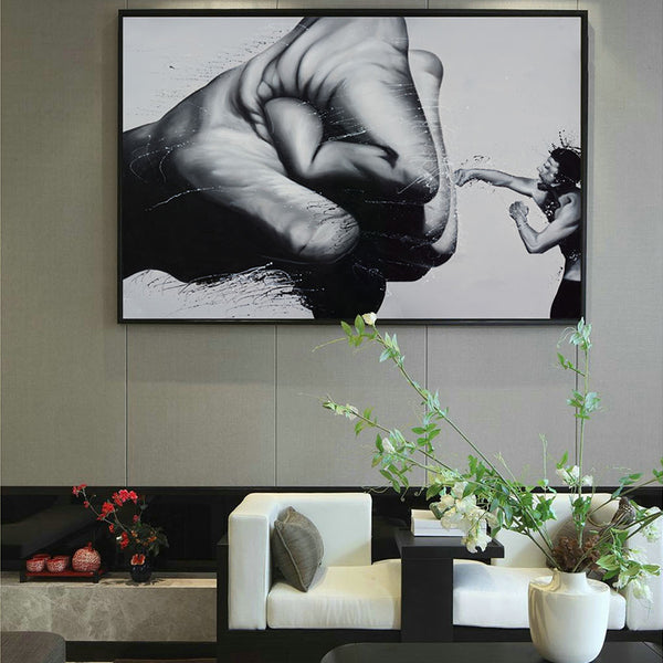 Black and White Minimalist Creative Abstract Boxer A4 Canvas Painting Art Print Poster Picture Wall Modern Home Decor AB094