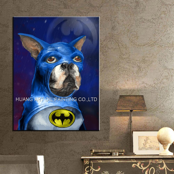 Hand Painted Boston Terrier Batman Oil Painting on Canvas Modern Blue Dog Painting for Living Room Home Decor Animal Picture