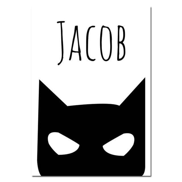 Batman Mask Wall Art Canvas Print Personalized Name Custom Poster Nursery Quote Painting Nordic Picture Kids Room Decoration