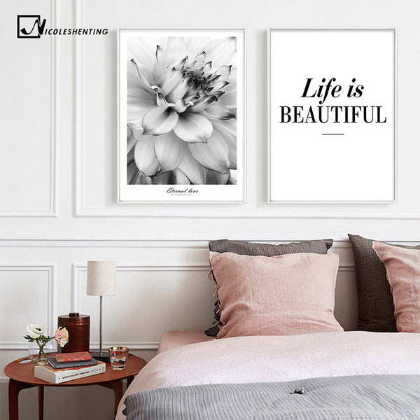 Black White Flower Inspirational Poster Life Quote Canva Print Minimalist Wall Art Painting Nordic Decorative Picture Home Decor