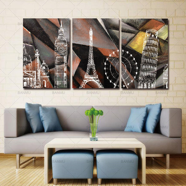 3 Panel abstract building canvas painting Home Decorative Living Room Wall Art Picture Paint On Canvas (No Framed)