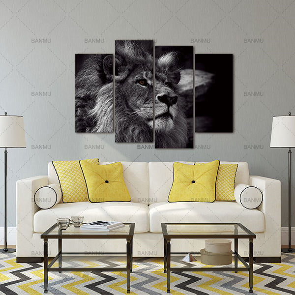 Lion Head Portrait Wall Art Painting Black And White Gray Pictures Print On Canvas 4 Panels Modern Animal Picture For Decoration