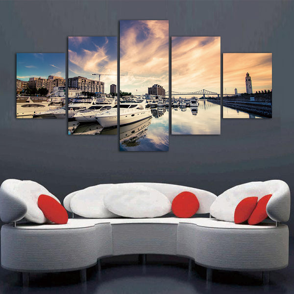 5 Pieces Frameless Canvas Photo Prints City Sea Boat Wall Art Picture Canvas Paintings Home Decor Wall Art Giclee Paintings