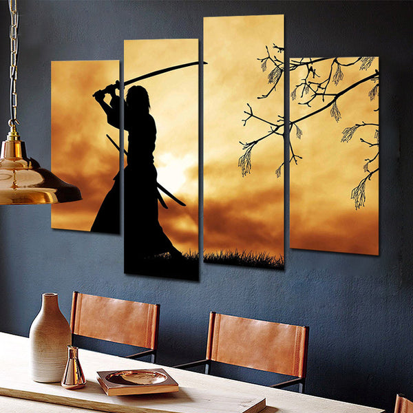 Picture Print on Canvas for Home Decoration Figure Paintings Wall Art Bushido Spirit Illustration Japanese Samurai