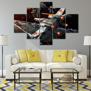 canvas  Painting Photo Prints Star Wars 5 Panels  Outer Space Wall picture Decorations Office Artwork Giclee Home Decor Unframed