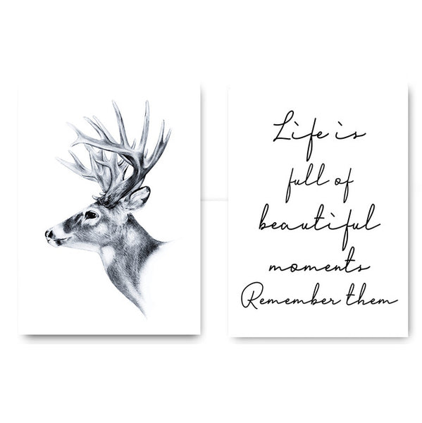 Nordic Decoration Deer Inspirational Poster Life Quote Canva Print Minimalist Wall Art Painting Decorative Picture Home Decor