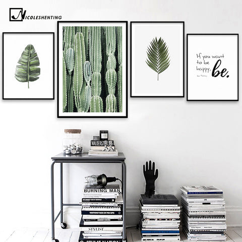 Nordic Style Leaves Cactus Poster Canvas Prints Motivational Poster Quotes Wall Art Painting Picture for Living Room Decoration
