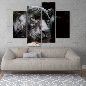 Painting The Picture Print On  Gift Canvas Animal Pictures For Home Decor Decoration Wall Art Black Panther Head Wood Portrait