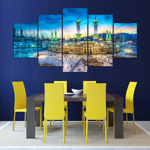 Printed Painting For Living Room Home Decoration 5 Panel Muslim Cuadros Modular Islam Pictures Poster Frame High Quality Canvas