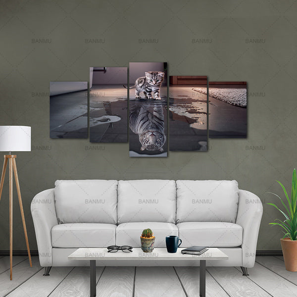 Canvas Picture Wall Art Painting Decor poster  5 Panels Decorations Modern Canvas Prints Artwork Cat and Tiger Pictures