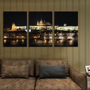 Wall Art Canvas Paintings Night View of Prague Castle 3 Panels  Wall Decorations Artwork Giclee Wall Artwork Home Decor