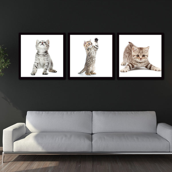 Wall Art Picture Home Decoration Living Room Canvas Print on 3 Pieces Animal Cute Cat Wall Picture Printing On Canvas no frame
