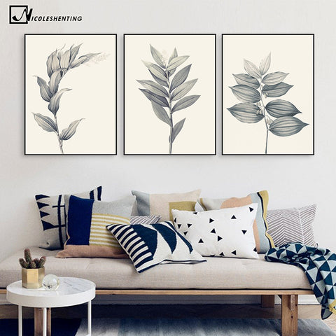 Gray Plant Flowers Leaves Minimalist Art Canvas Poster Painting A4 Abstract Wall Picture Print Modern Home Room Decoration
